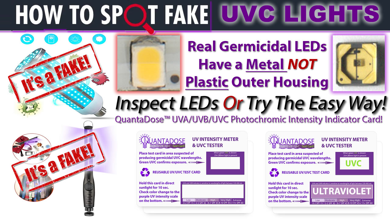 how-to-tell-if-uvc-light-fake-UV detection-card-uvc-led-light-fake-germicidal-led-test-strip-quantadose-uv-indicator-card