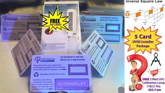 five-pcs-installer-package-5-quantadose-uvgi-test-cards-free-uvc-uv sterilizer-wand-free3w-uvc-calibration-light