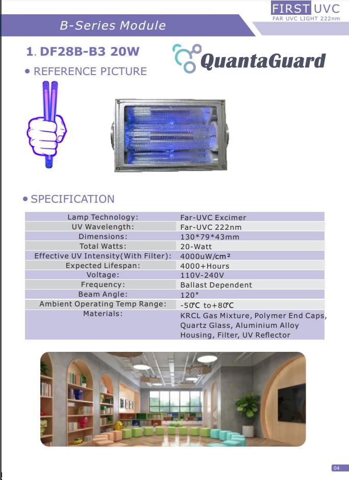 2b-quantaguard-Far-UV-Lamps-DF19B-15W-24V-Far-UVC-DF28B-3B-20W-110v-240V-Far-UVC-Excimer-222nm