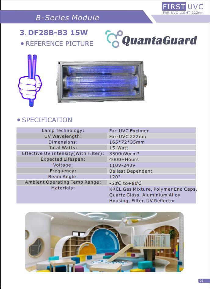 3b-quantaguard-Far-UV-Lamp-module-DF15B-1B-5W-110v-240vV-Far-UVC-DF28B-3B-15W-110v-240V-Far-UVC-Excimer-222nm