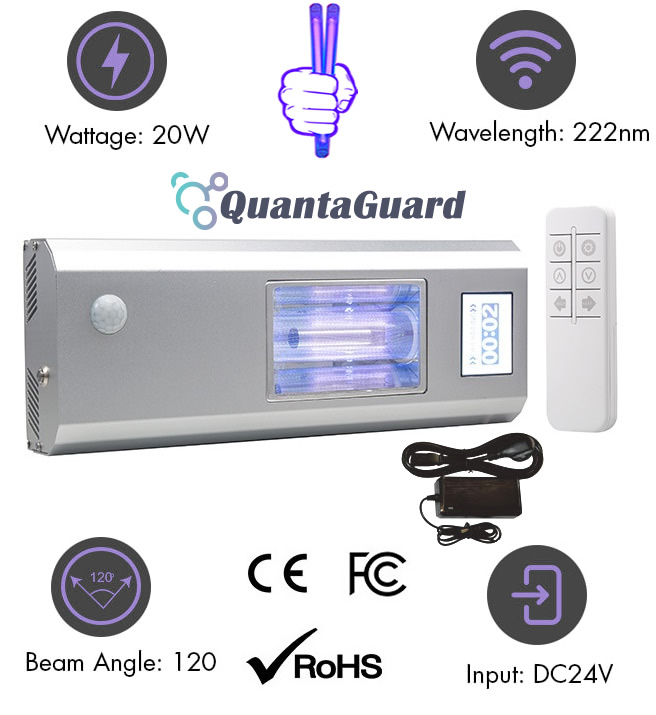 Far-UV-light-filtered-222nm-faruv-accessories-DF-series-far-uvc-quantaguard-firstuvc-with-222nm-24v-power-supply