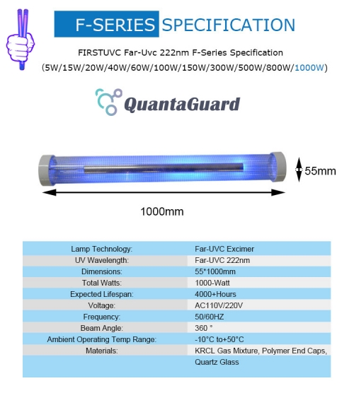 Far-uvc-Quantalamp-specs-F-Series-FirstUVC-F55-1000W-AC220V-ac-50-60hz--Far-UV-222nm-1000-watt-Excimer-far-uvc-222nm-1000-watt-Lamp-F55-1000W-AC220V-110-240v