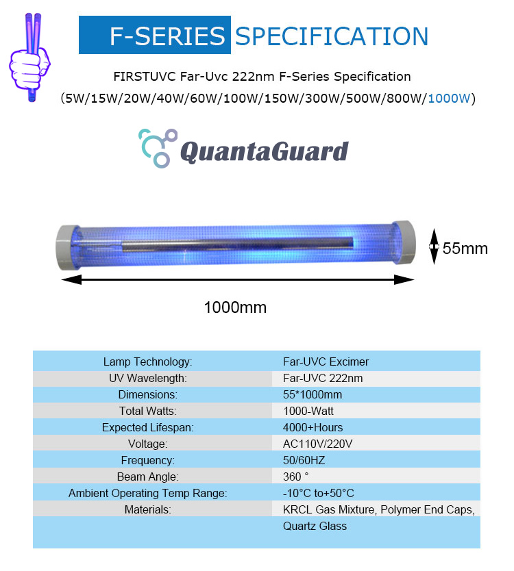 Far-uvc-Quantalamp-specs-F-Series-FirstUVC-F40-1000W-AC220V-ac-50-60hz--Far-UV-222nm-1000-watt-Excimer-far-uvc-222nm-1000-watt-Lamp-F40-1000W-AC220V-110-240v-
