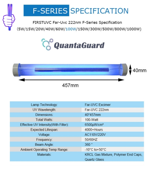 Far-uvc-Quantalamp-specs-F-Series-FirstUVC-F40-100W-AC220V-ac-50-60hz--Far-UV-222nm-100-watt-Excimer-far-uvc-222nm-100-watt-Lamp-F40-100W-AC220V-110-240v-