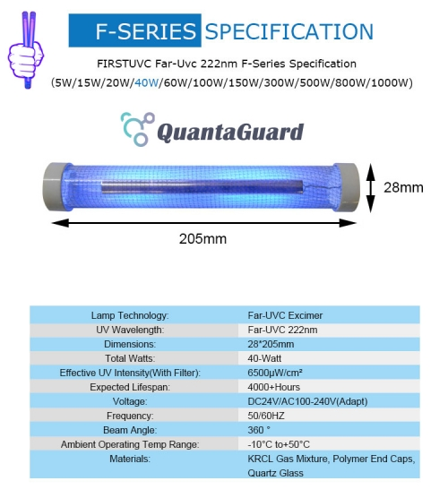 Far-uvc-Quantalamp-specs-F-Series-FirstUVC-dc24V-ac-50-60hz--Far-UV-222nm-40-watt-Excimer-far-uvc-222nm-40-watt-Lamp-f28-F28-40W-DC24V-dc-110-240v-