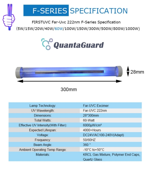 Far-uvc-Quantalamp-specs-F-Series-FirstUVC-dc24V-ac-50-60hz--Far-UV-222nm-60-watt-Excimer-far-uvc-222nm-60-watt-LampF28-60W-DC24V-dc-110-240v-
