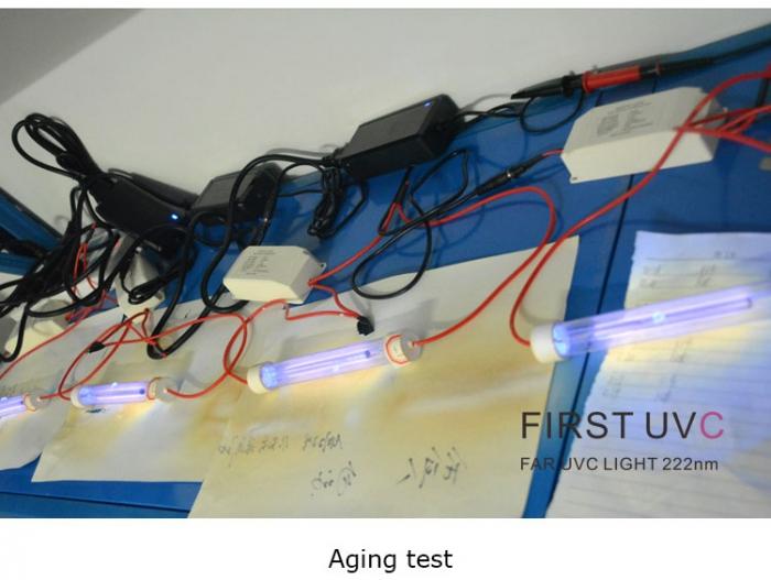 Far-uvc-lights-age-testing-Quantalamp-close-up-F-Series-FirstUVC-24V-Far-UVC-222nm-20-watt-Excimer-far-uvc-222nm-20-watt-Lamp-f28-24v-dc