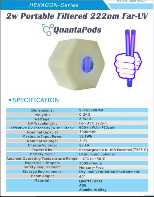 far-uvc-2w-hexagon-3.7v-222nm-20w-filtered-222nm-excimer-lamp-rechargeable-usc-3000mAh-batter-powered-far-uvc-2-watt