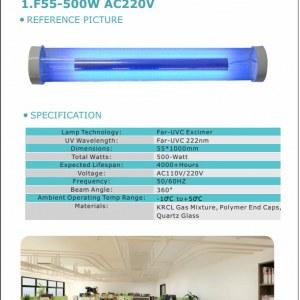 First UVC 222nm 500-Watt Far UVC Excimer Lamp