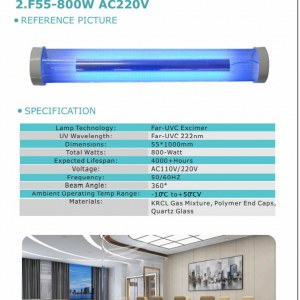 First UVC 222nm 800-Watt Far UVC Excimer Lamp