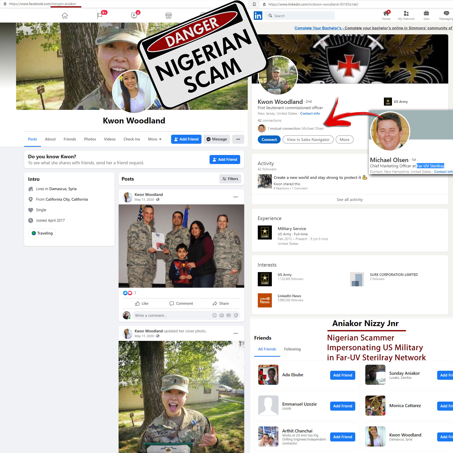 michael-olsen-chief-marketing-officer-far-uv-sterilray-connected-to-Nigerian-Scammer-Impersonating-US-Military-birds-of-a-feather-flock-together