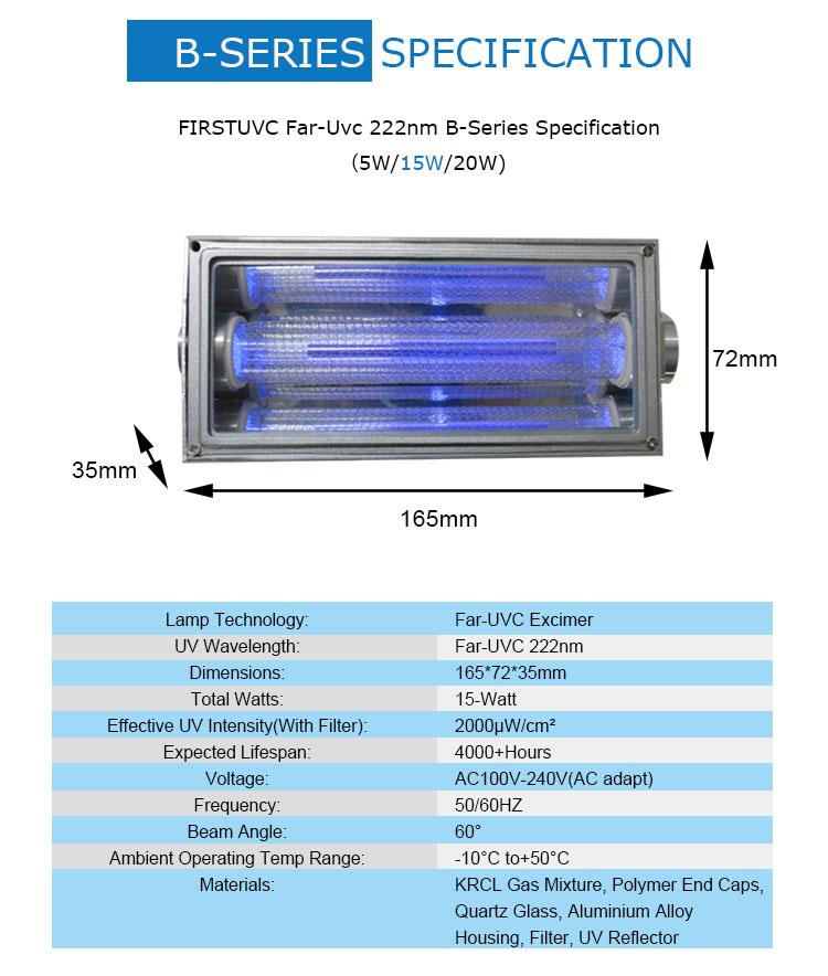 specs-Far-uvc-Quantalamp-b-series-FirstUVC-24V-Far-UV-222nm-15-watt-Excimer-far-uvc-222nm-15-watt-b28-24v-dc